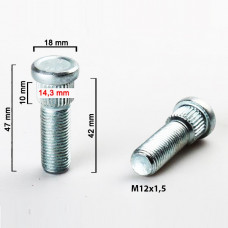 M12x1.5x42mm wheel stud (14.3mm) (OEM 3714.28) MITSUBISHI, SMART FOR FOUR, TOYOTA, MAZDA, HYUNDAI