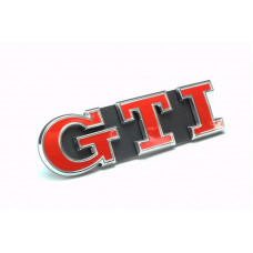VW GRILL BADGE LOGO GTI RED / CHROME ( 5G0853679 PWYR )