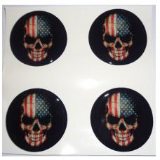 USA FLAG SKULL 3D wheel cap stickers